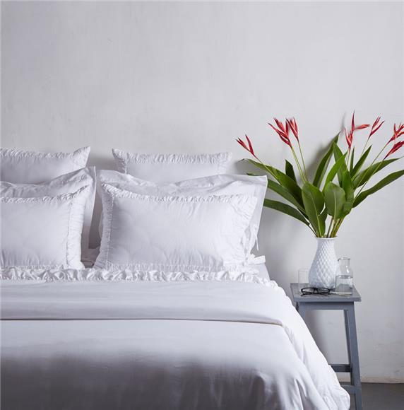 French Style - White Ruched Cotton Duvet Cover