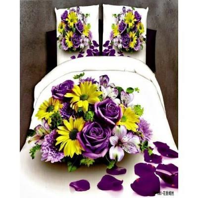 Flower Print - Bednshines 3d Bedsheet Cotton Satin