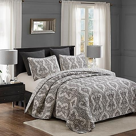 Charcoal Grey - Geometric Pattern.reversible Pillow Shams Coordinate