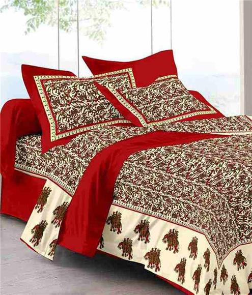Colour Combination - Cotton Double Size Bed Sheet