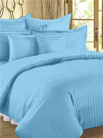 Plain Blue - Cotton Double Bed Sheet Set