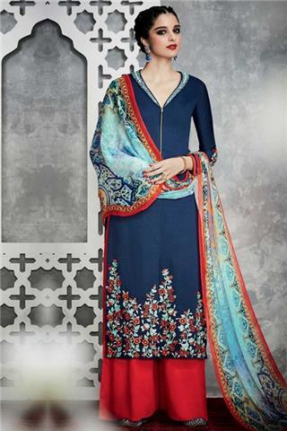 Andaaz - Satin Trouser Suit With Dupatta