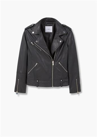 Zip Pockets - Leather Biker Jacket