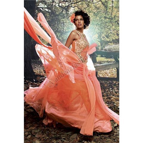 Andaaz Fashion - Peach Net Heavy Embriodered Weddingwear