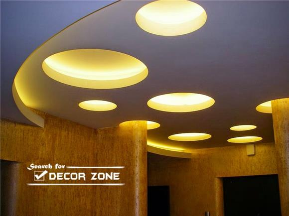 Variety Geometric Gypsum Board Design False Ceiling Hall