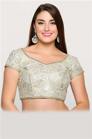 Andaaz Fashion Uk - Traditional Look Cream Fancy Saree